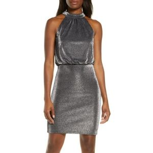 Vince Camuto Bloused Shimmery Cocktail Dress
